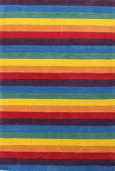 Kidding Around Stripped Kids Rugs - Rainbow