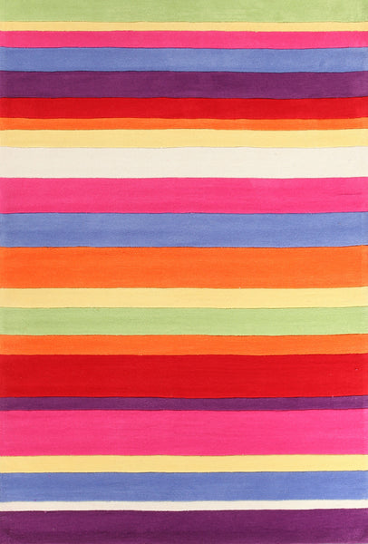 Kidding Around Candy Stripe Rug - Multi Coloured