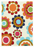 Kidding Around Bright Poppies Rug - Light Mint