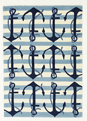 Kidding Around Nautical Anchors Rug - Blue White
