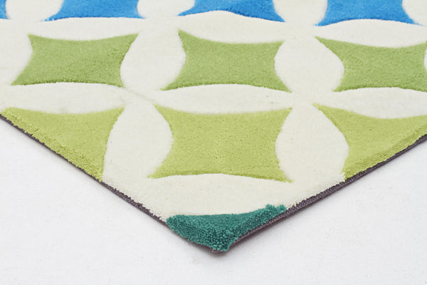 Kidding Around Diamonds Rug - Blue Green