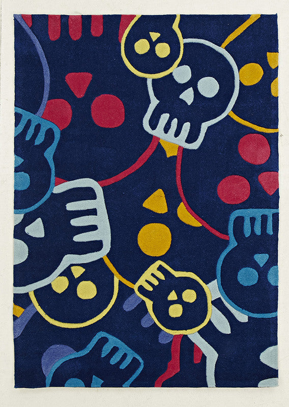 Kidding Around Skulls Rug - Blue