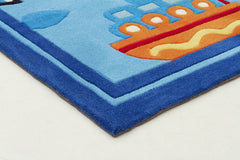 Kidding Around Boats Rug - Blue