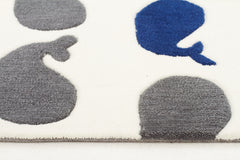 Super Cute Whales Rug White Grey Navy
