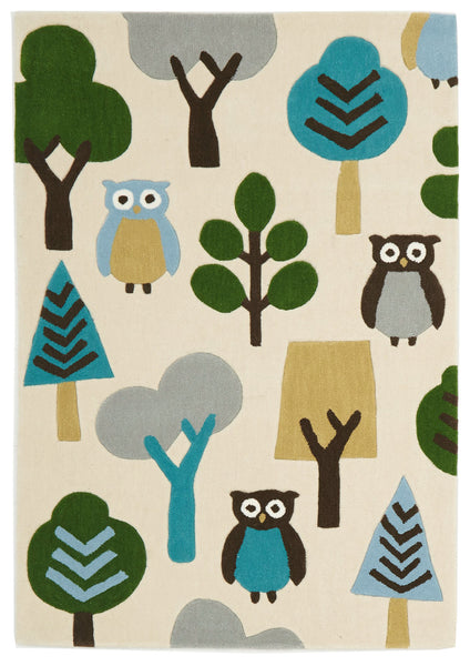 Kidding Around Owl In The Forest Rug - Cream