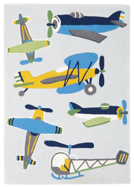 Kidding Around Little Aviator Plane Rug - Blue