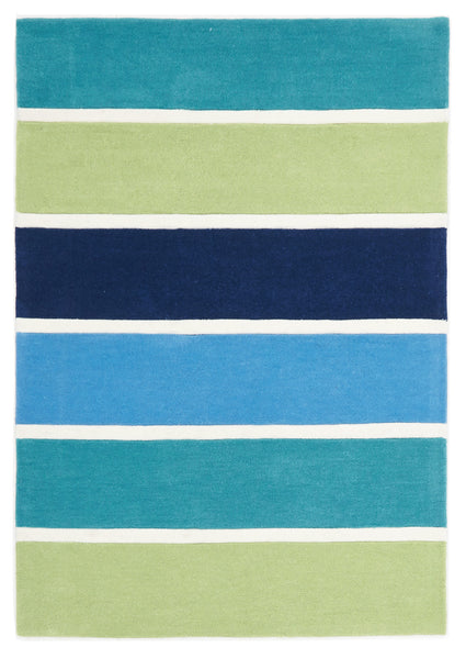 Kidding Around Banded Stripes Rug - Blue Green
