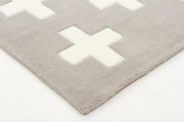 Kidding Around Nordic Crosses Rug - Grey