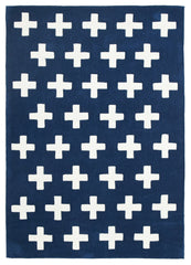 Kidding Around Nordic Crosses Rug - Navy