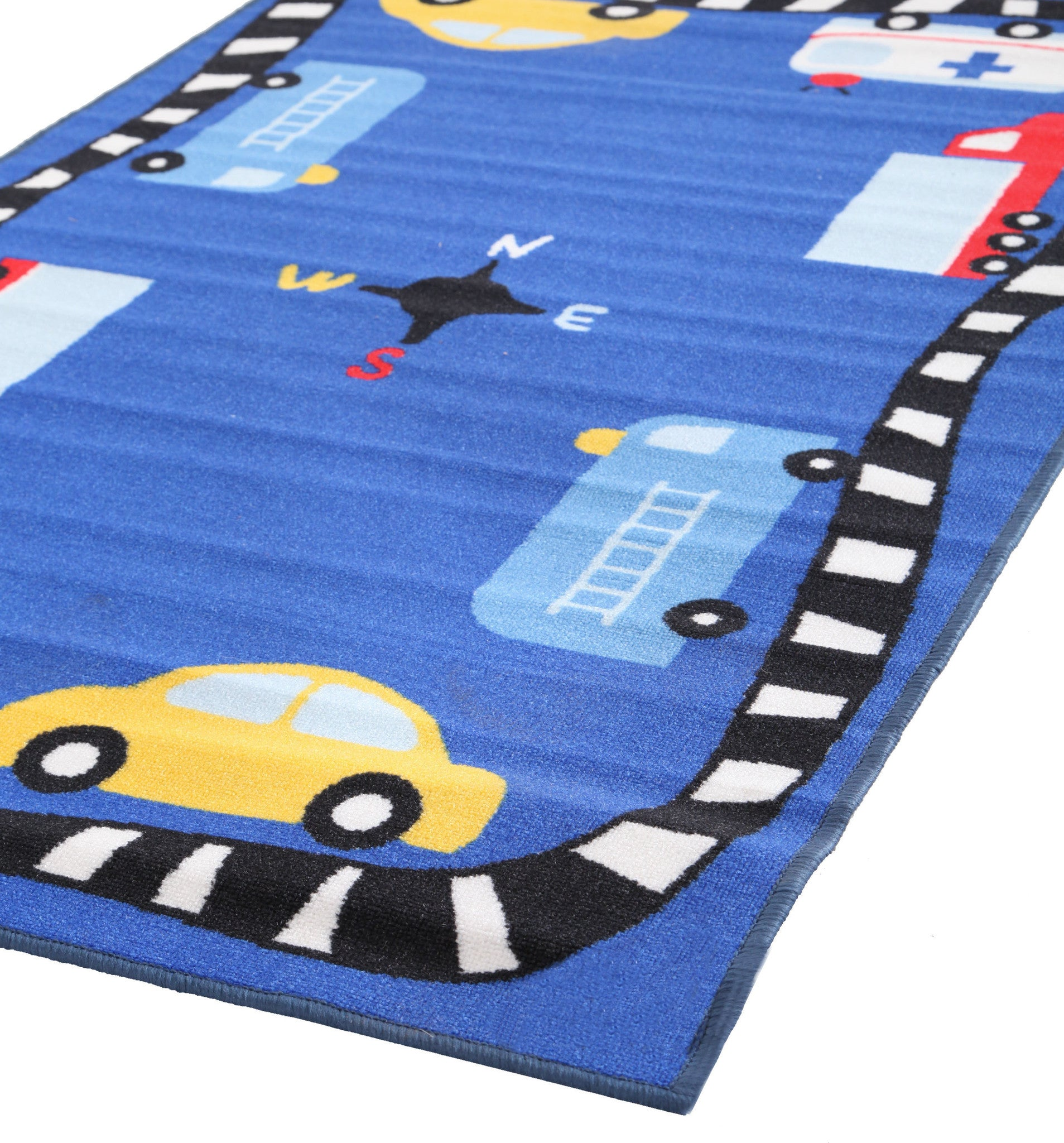 Little Circus Non Slip Kids Rug - Cars Blue