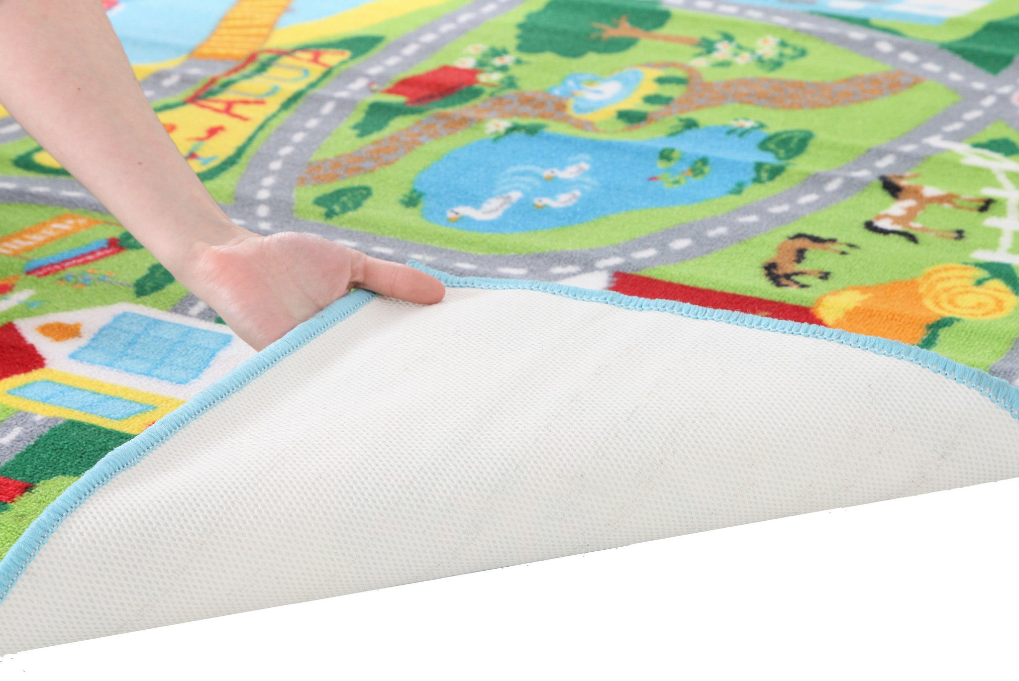 Little Circus Non Slip Kids Road Map Rug - Beach Blue