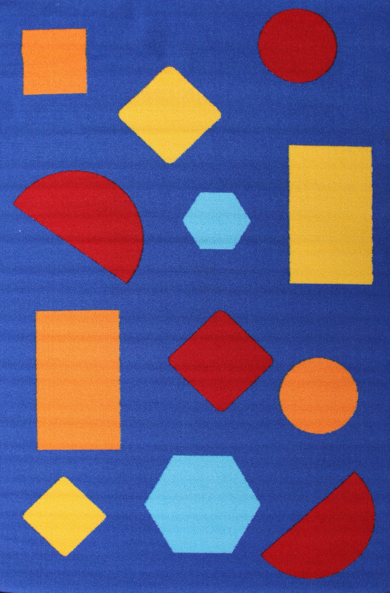 Little Circus Non Slip Kids Rug - Shapes Blue