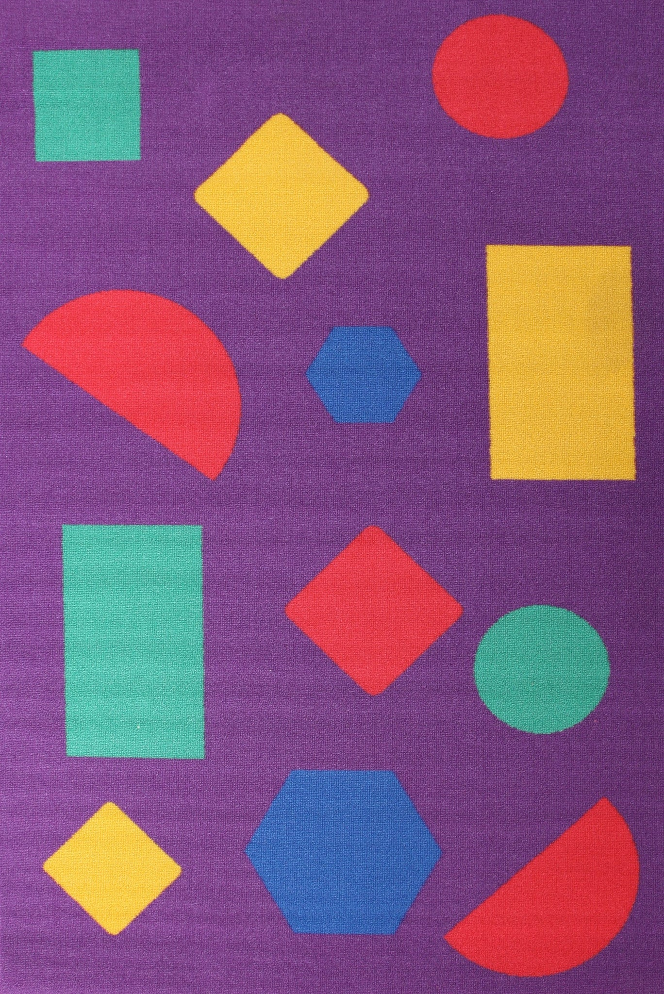 Little Circus Non Slip Kids Rug - Shapes Purple