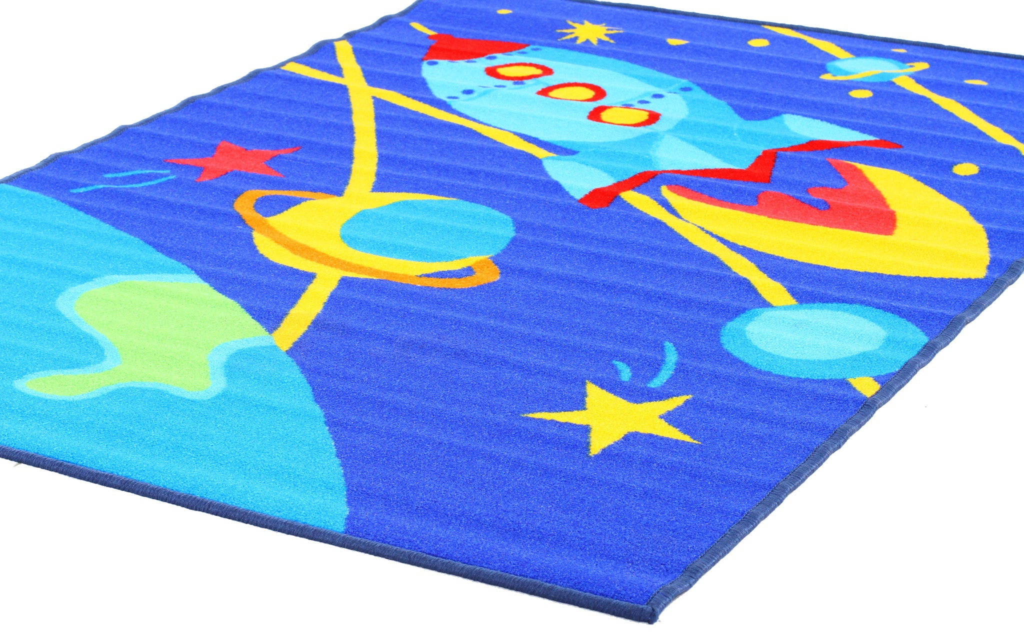 Little Circus Non Slip Kids Rug - Outer Space Blue