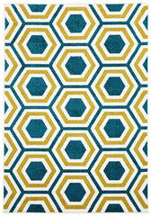 Indoor Outdoor Honeycomb Rug Blue Citrus