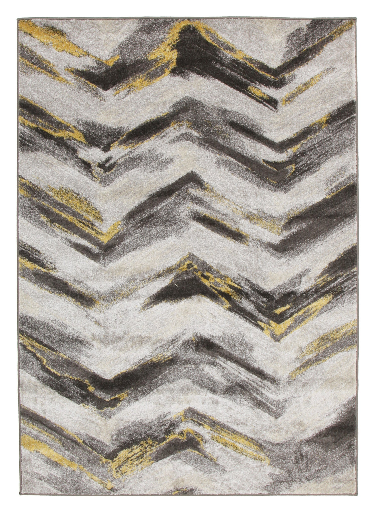 Ella Chevron Modern Rug Grey Yellow