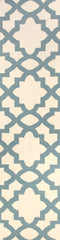 Flat Weave Trellis Design Light Blue White Rug