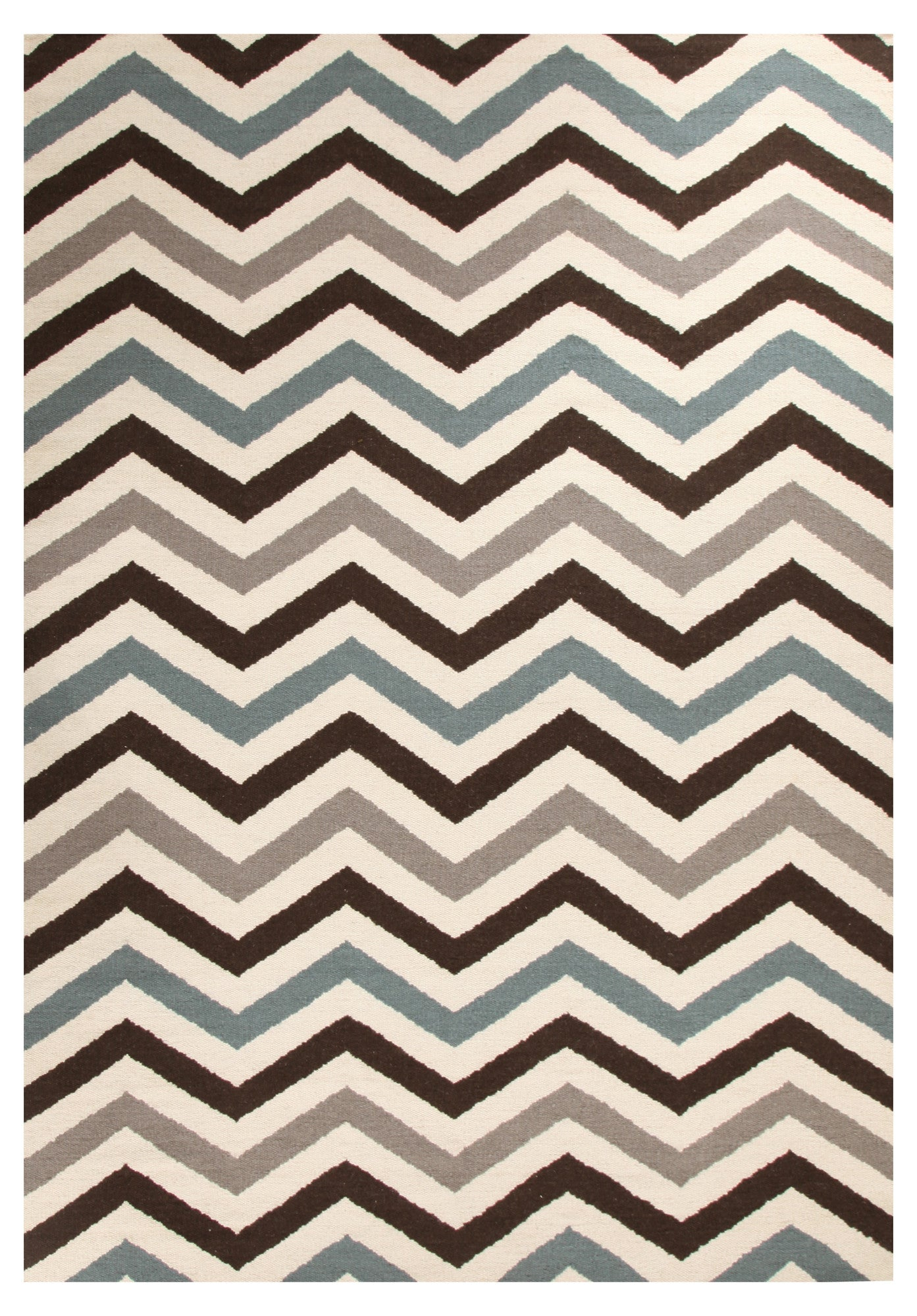 Nomad 18 Flat Weave Rug - Blue Brown Cream
