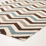 Flat Weave Chevron Design Rug Blue Brown