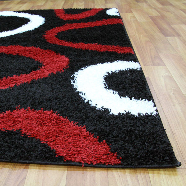 Notes 2 Shaggy Rug - Black Red White