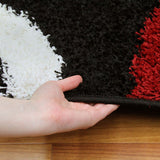 Modern Shag Rug Hoops Black Red White