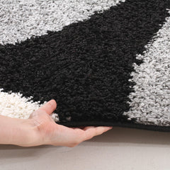 Modern Shag Rug Hoops Black Grey