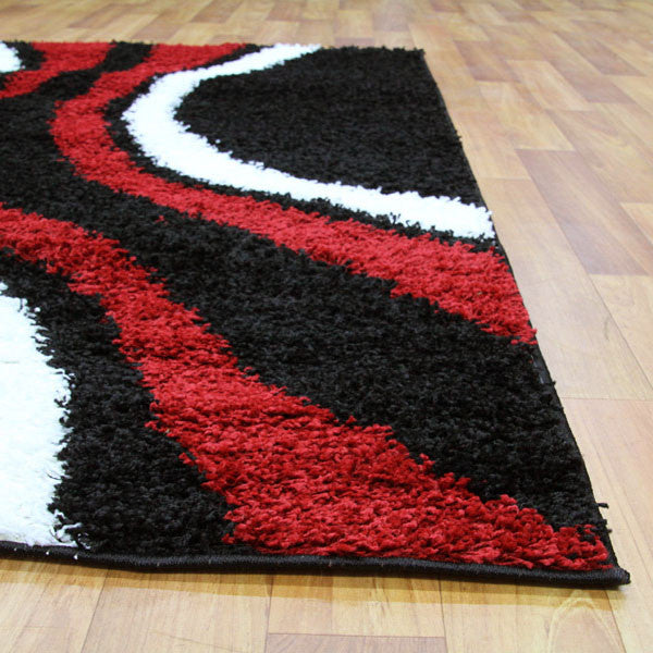 Stylish Curves Rug Black Red