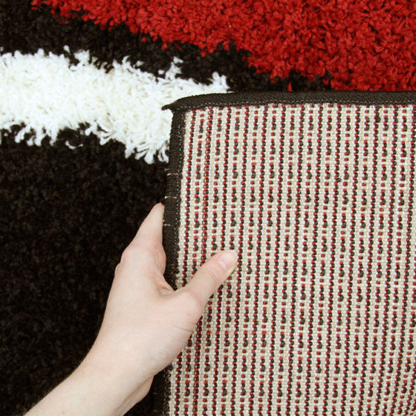 Notes 3 Shaggy Rug - Black Red