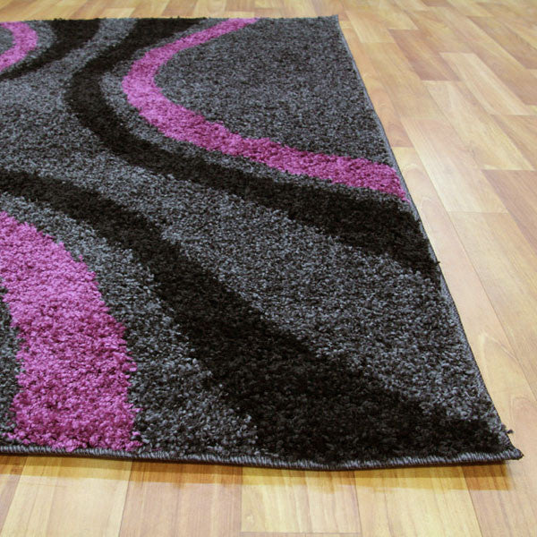 Notes 3 Shaggy Rug - Black Charcoal