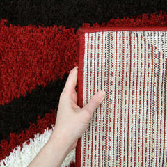 Notes 3 Shaggy Rug - Red Black