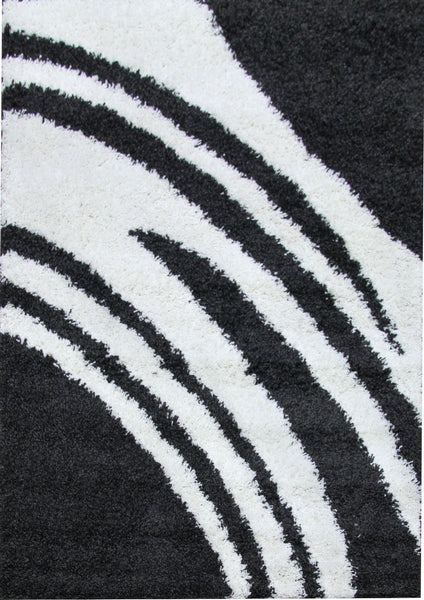 Modern Shag Rug Brush Strokes Charcoal, White