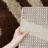 Modern Shag Rug Brush Strokes Beige, Brown