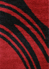 Notes 4 Shaggy Rug - Red Black