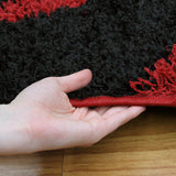 Modern Shag Rug Brush Strokes Red, Black