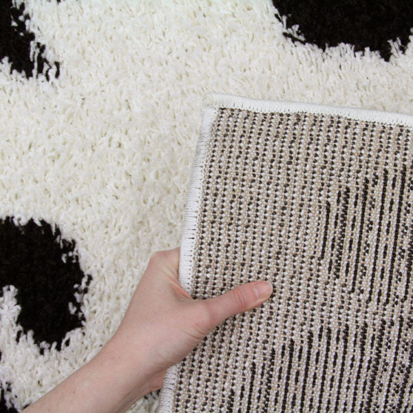 Notes 5 Shaggy Rug - Black White