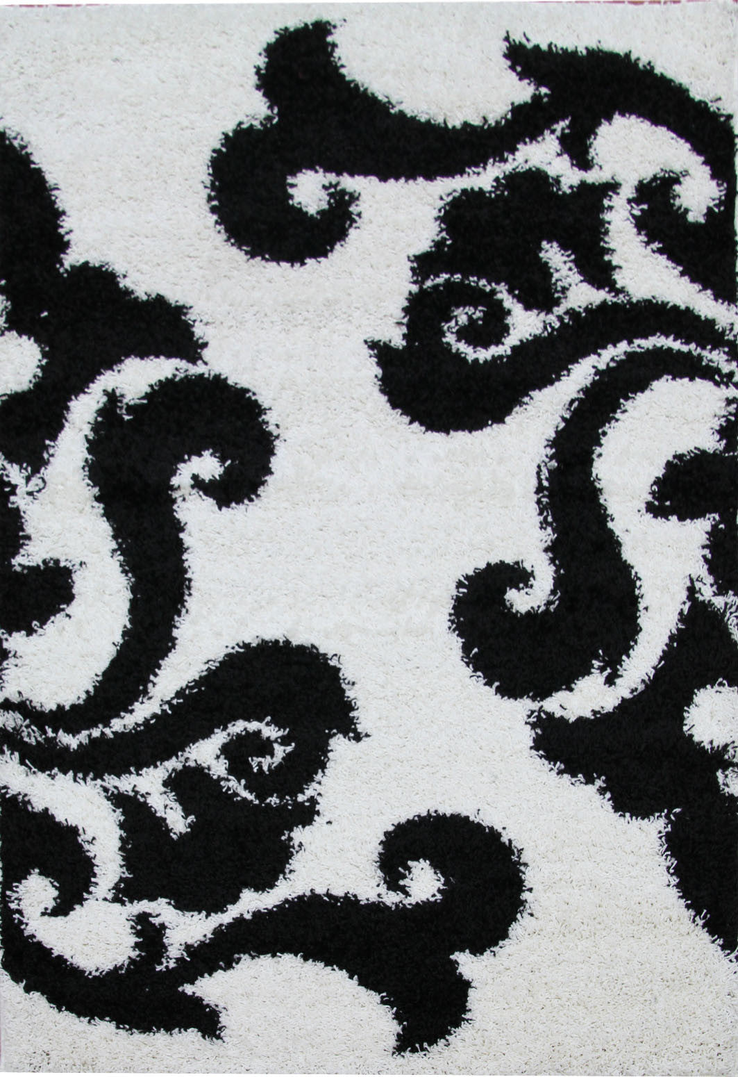 Notes 5 Shaggy Rug - White Black