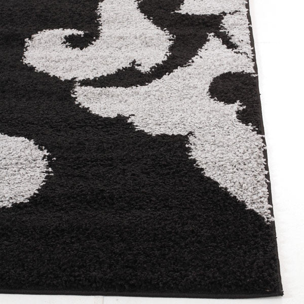Damask Design Shag Rug Black Grey