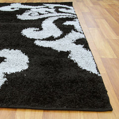 Notes 5 Shaggy Rug - Black Grey