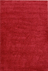 Notes Plain Shaggy Rug - Red