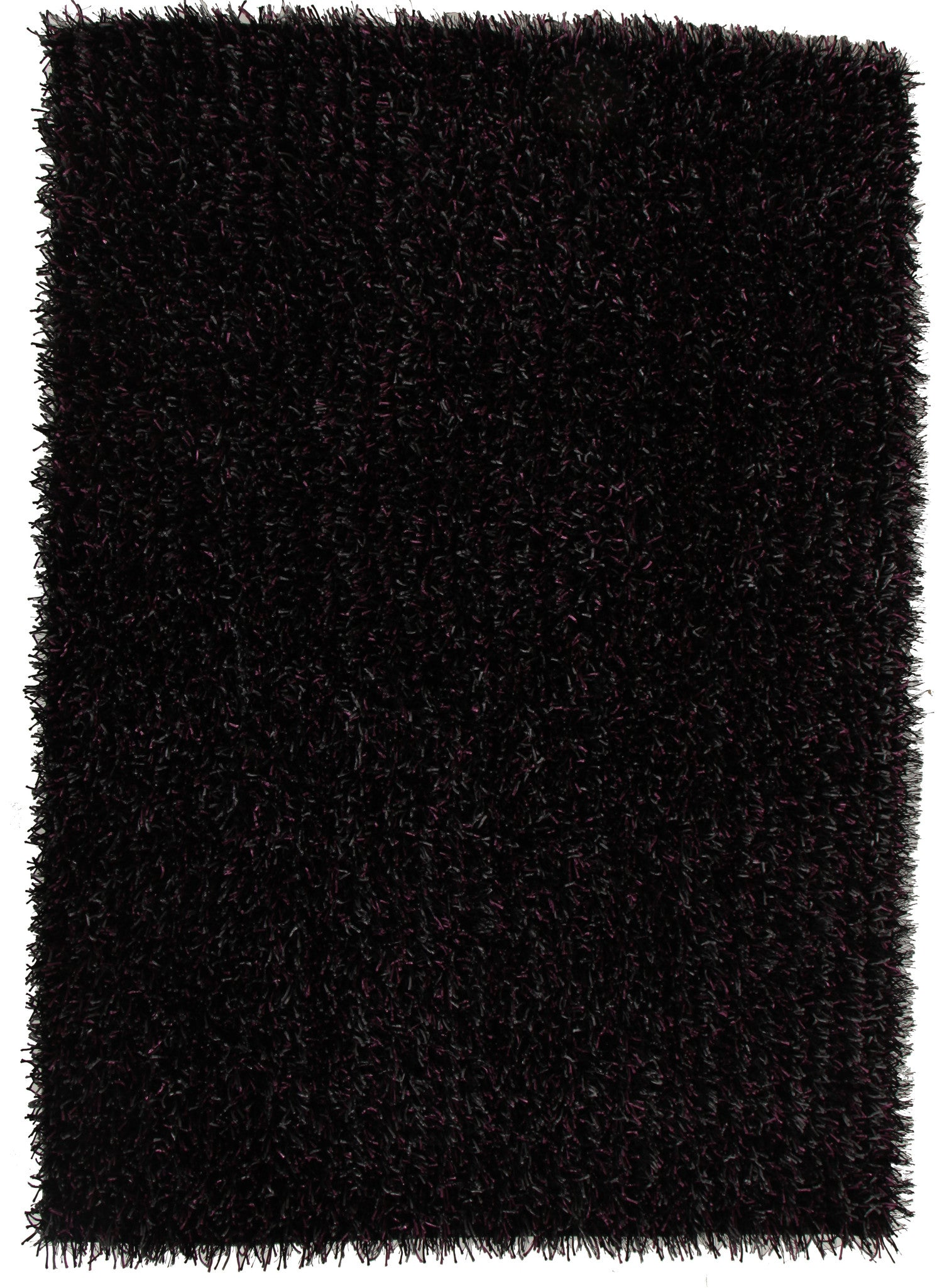 Metallic Thick, Thin Shag Rug Aubergine Grey