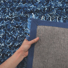 Metallic Thick, Thin Shag Rug Blue and Navy