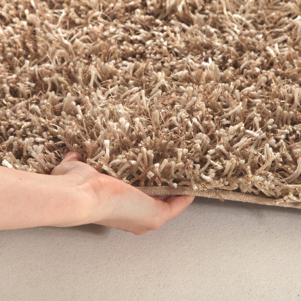 Metallic Thick, Thin Shag Rug Cream