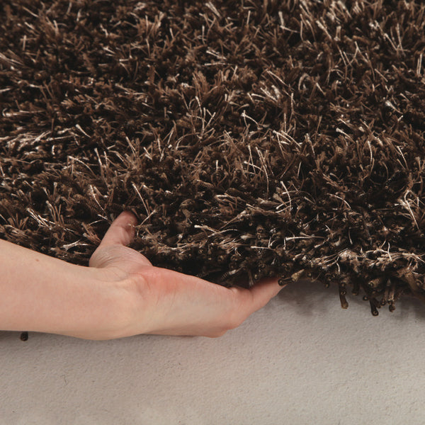 Metallic Thick, Thin Shag Rug Dark Brown