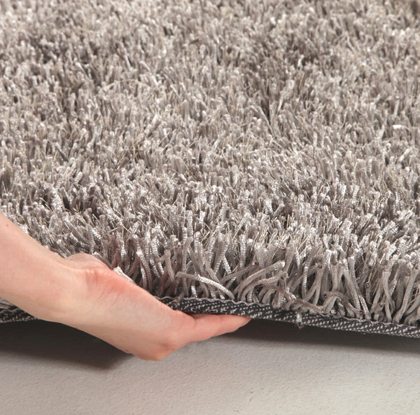 Metallic Thick, Thin Shag Rug Grey