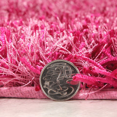 Metallic Thick, Thin Shag Rug Fuchsia
