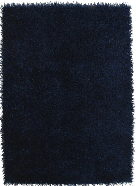 Metallic Thick, Thin Shag Rug Dark Blue