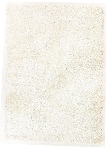 Metallic Thick, Thin Shag Rug Crisp White