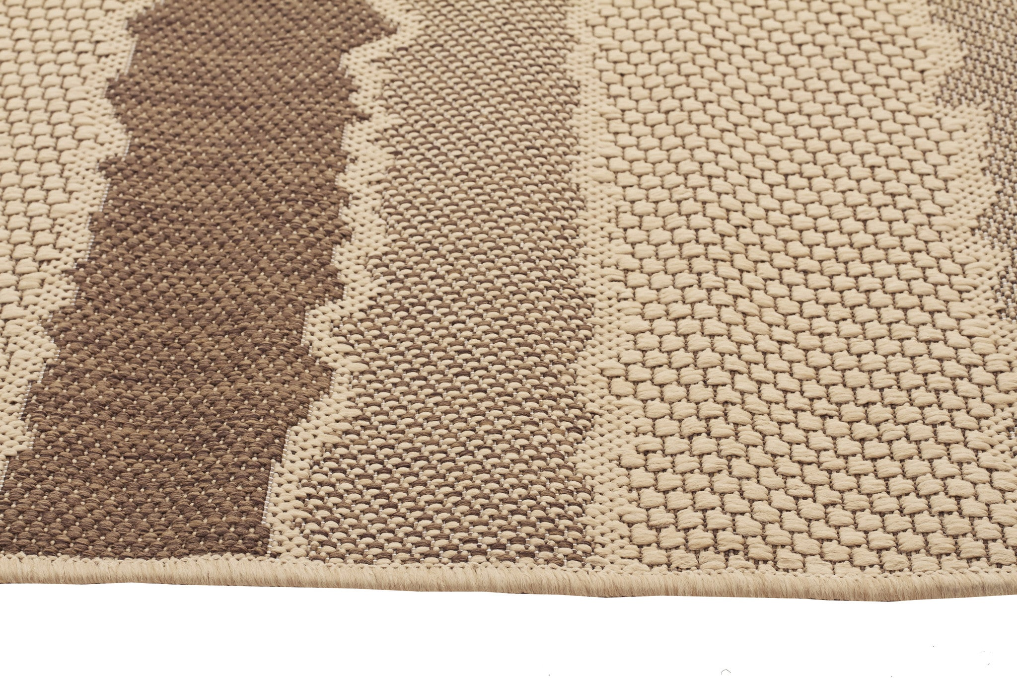 Indoor Outdoor Wave Rug Beige Brown