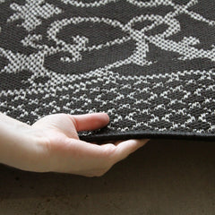 Indoor Outdoor Lace Border Design Rug Black
