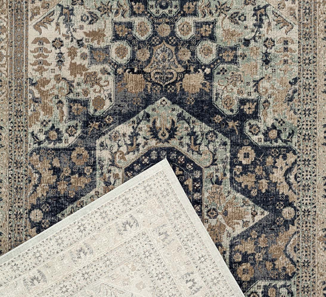 Providence Brushed Traditional Rug - Blue
